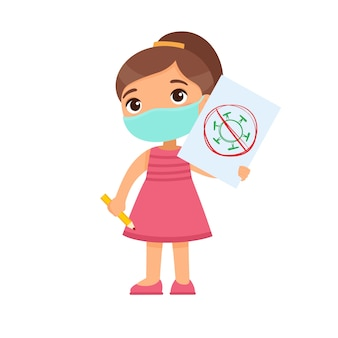 Little girl with medical mask holding paper sheet with virus image. cute schoolkid with image and pencil in hands isolated on white background. virus protection consept.