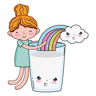 Little girl with milk and rainbow kawaii character