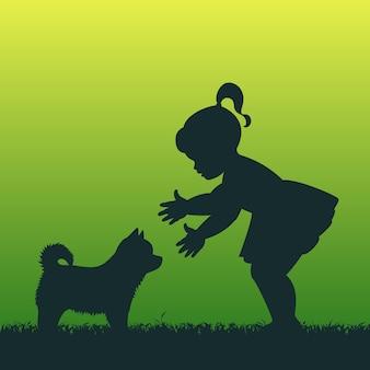 子犬を持つ少女。図