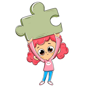 Little girl with a puzzle piece with the problem request