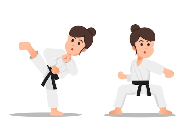 A little girl with some karate moves