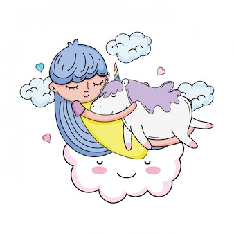 Little girl with unicorn and cloud kawaii