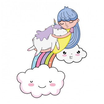 Little girl with unicorn and rainbow kawaii