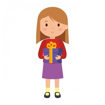 Маленькая девочка с зимней одеждой и подарком