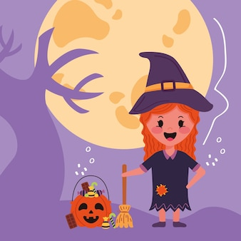 Little girl with witch halloween costume
