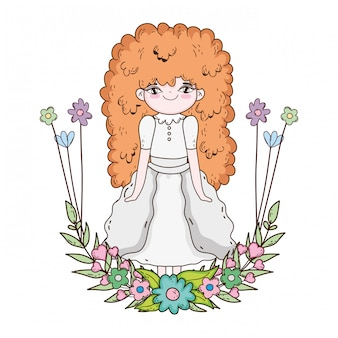 Little girl with wreath flowers communion celebration