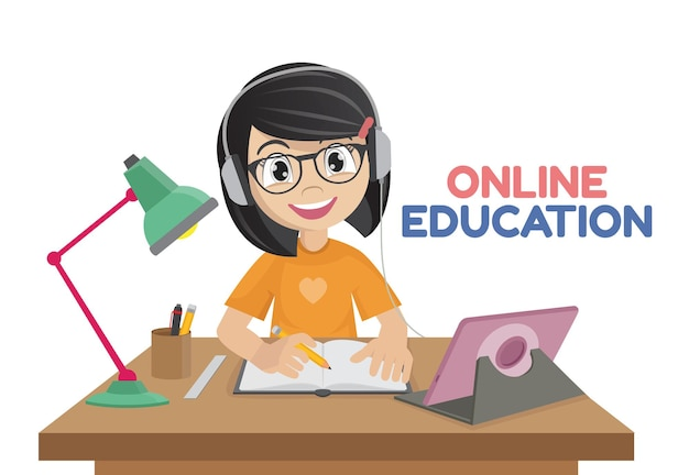 Little girl working at laptop online educationvector eps10