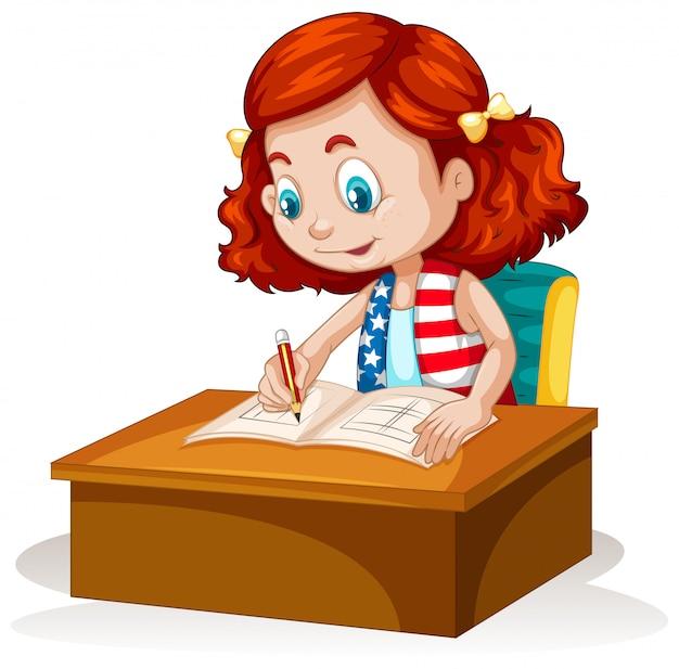テーブルの上を書く少女