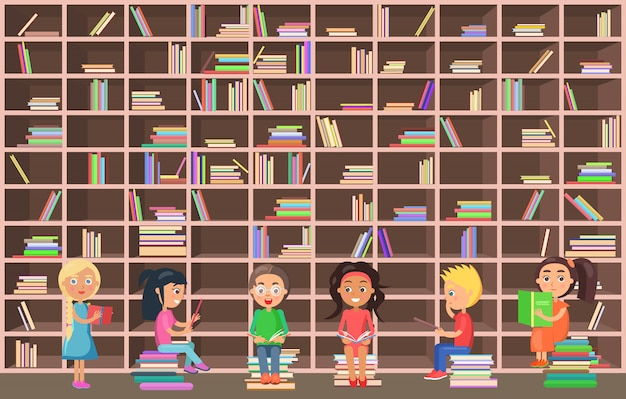 Little girls and boys stand and sit beside huge bookcase