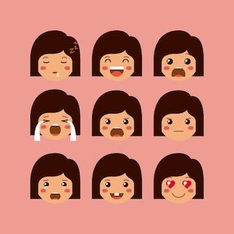 Little girls emoticon set kawaii characters