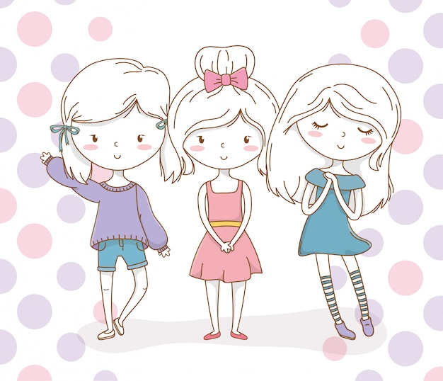 Little girls group with pastel colors and dotted background
