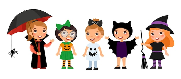 Little girls in spooky monsters costumes halloween party  vampire pumpkin ghost bat and witch