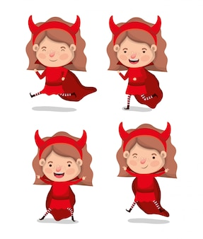 Little girls with devils costume characters