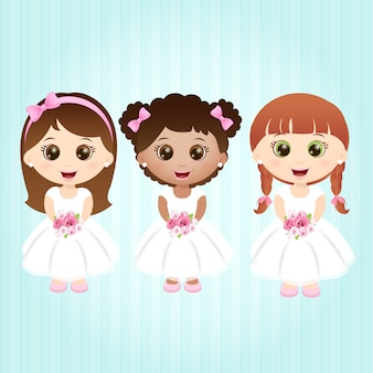 Little girls with white dresses