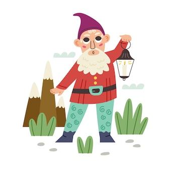 Маленький гном держит фонарь. садовая сказка карликовый персонаж. современные векторные иллюстрации в плоском мультяшном стиле