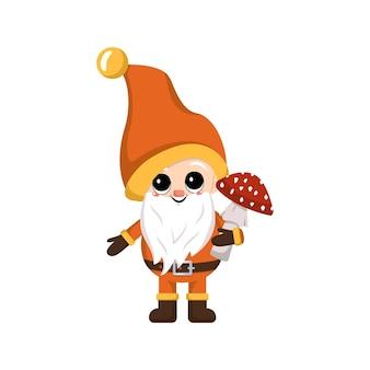 Маленький гномик с длинной белой бородой, жизнерадостным лицом с грибным характером мухомора для сбора урожая ав ...