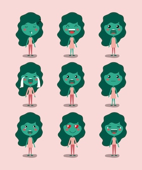 Little green girls emoticon set kawaii characters