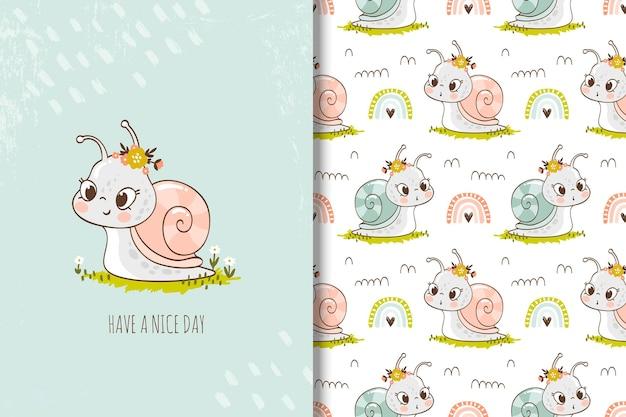 무지개 만화 완벽 한 패턴 일러스트와 함께 작은 손으로 그린 달팽이