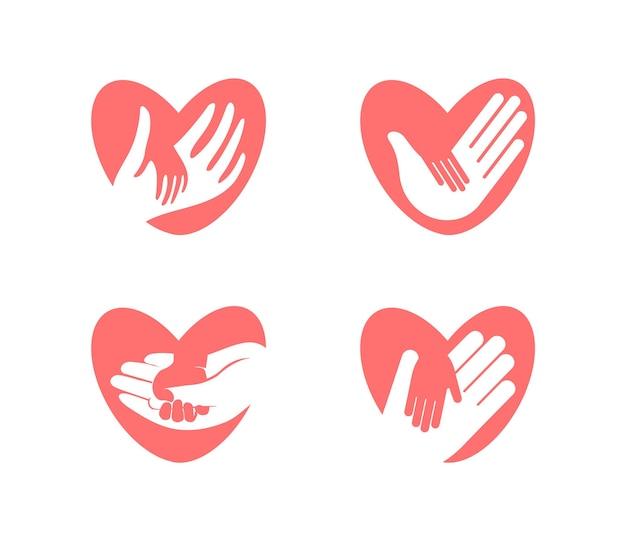 심장 실루엣, 벡터 아이콘 세트에 큰 손에 작은 손. 자선, 보류, 도움 및 관리 회사 로고 템플릿. 플랫 부드러운 핑크 추상 고립 된 기호입니다. 격리 된 벡터 일러스트 레이 션