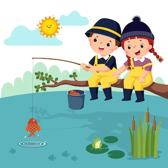 Of little happy boy and girl sitting on the branch and fishing in a pond. fisherman kids.