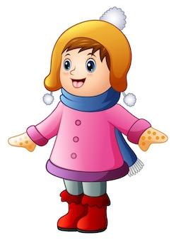 冬の服を着た少年少女