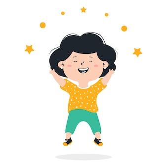 小さな幸せな女の子がジャンプ子供は笑ってジャンプして幸せです