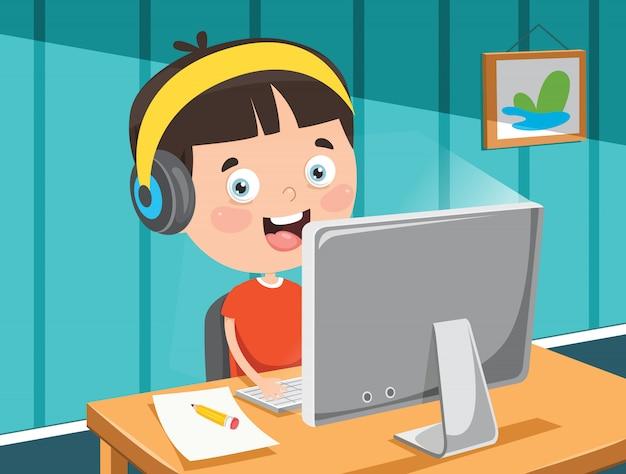 Little happy kid using technology