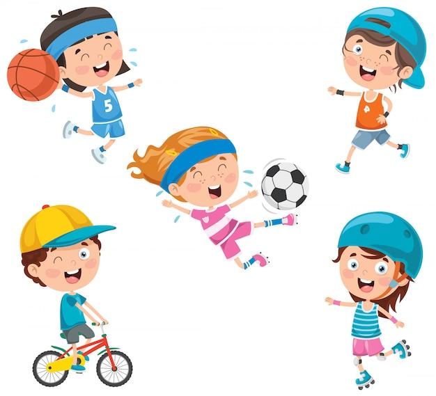 Little happy kids making sport