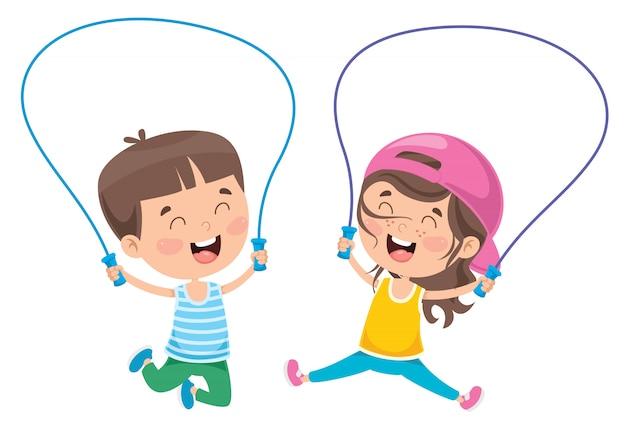 ロープをスキップする小さな幸せな子供