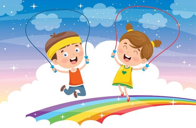 밧줄을 건너 뛰는 작은 행복한 아이들