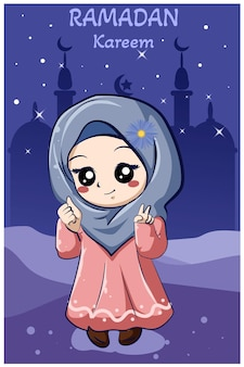 ラマダンカリーム漫画イラストで小さな幸せなイスラム教徒の少女