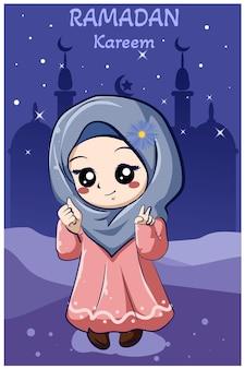 Little happy muslim girl at ramadan kareem cartoon illustration