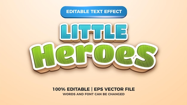 Little heroes editable text effect