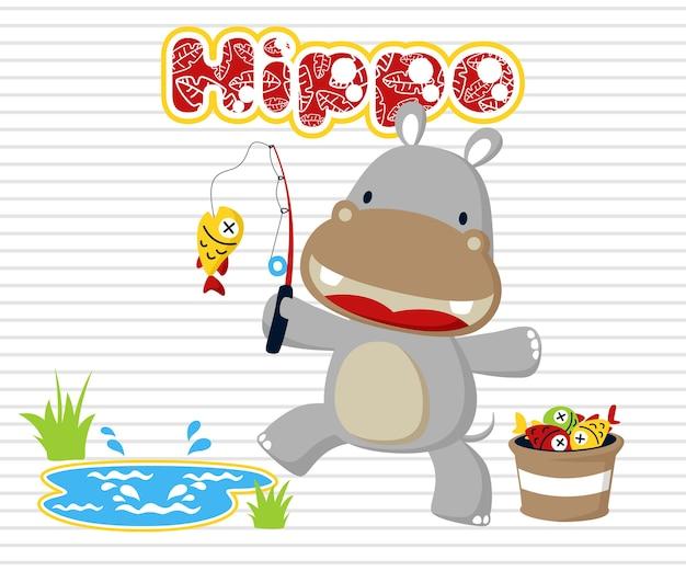 Little hippo fishing time cartoon