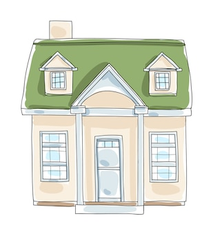 Little home tiny house cottage vintage  hand drawn vector