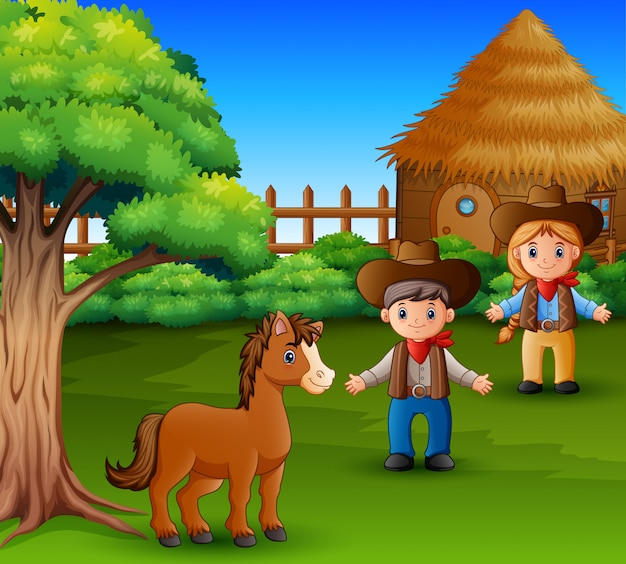 Little horse and farmer wearing rustic clothes