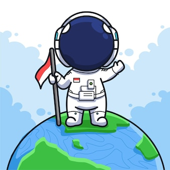 Little indonesian astronaut holding flag with clear sky in cute line art illustration style