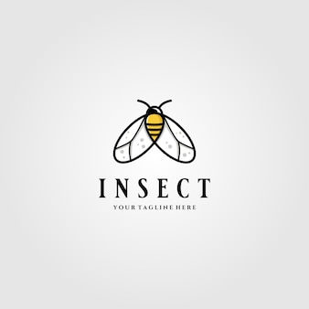 Little insect flies or bee logo