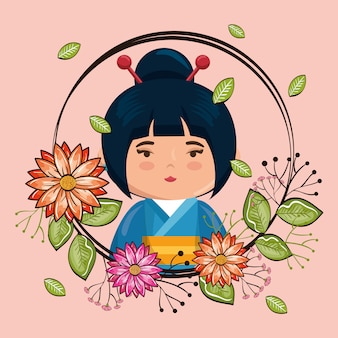 Little japanese girl kawaii with flowers character