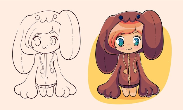긴 처진 귀를 가진 토끼 토끼 의상을 입은 귀여운 애니메이션 소녀