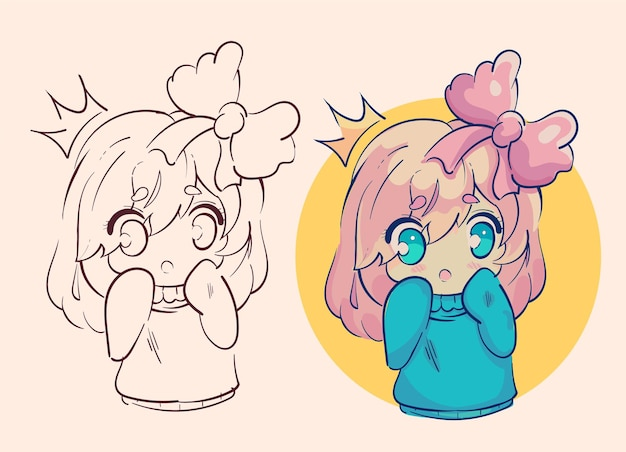 Little kawaii anime girl, surprised princess with a bow and crown