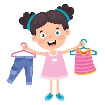 Маленький ребенок и красочные одежды