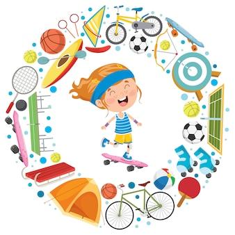 Маленький ребенок и спортивное оборудование