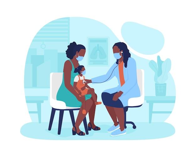 Назначение маленького ребенка в детской больнице 2d вектор изолированных иллюстрация. звуковой экран легких. проверка роста ребенка плоских персонажей на фоне мультфильма. офис педиатра посещает красочную сцену