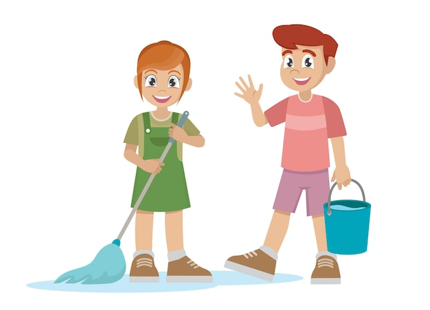 Little kid boy and girl do chores cleaning floor