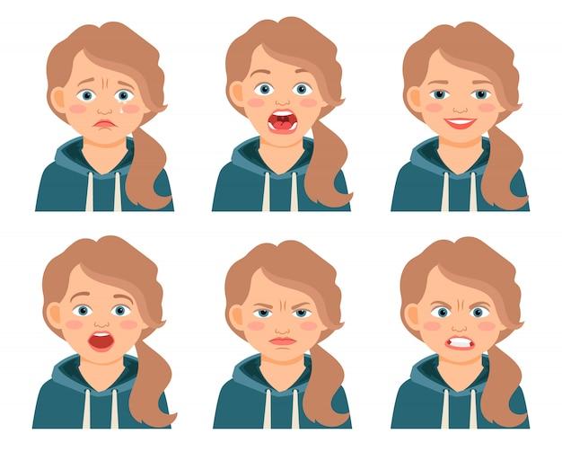 Изолированные выражения лица девушки маленького ребенка. нахмурившиеся и испуганные, испуганные и злые девушки мультипликационные эмоции. векторная иллюстрация
