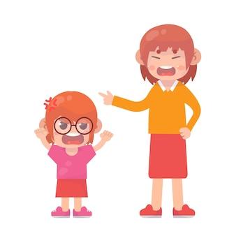 엄마에게 화난 어린 소녀 premium vector