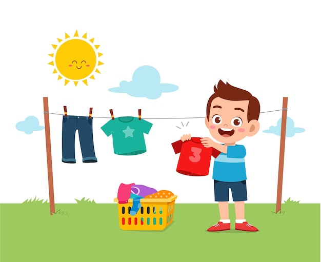 Little kid helping to do chores and dry the clothes outside