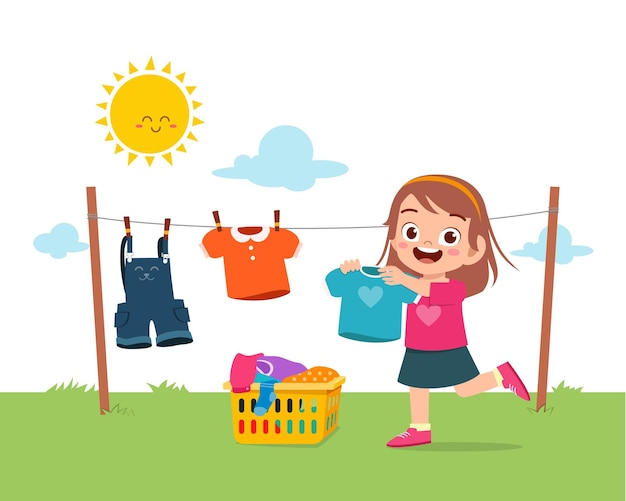 집안일을하고 밖에서 옷을 말리는 것을 돕는 어린 아이