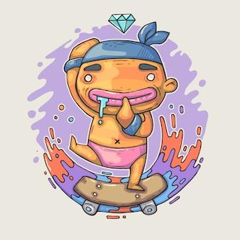 Little kid is riding skateboard.